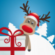 Reindeer behind gift red white ribbon — 图库矢量图片