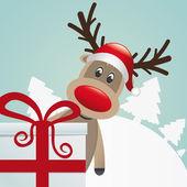 驯鹿背后的礼物红色白丝带 — 图库矢量图片