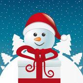 Snögubbe bakom gåva vita vinterlandskap — Stockvektor