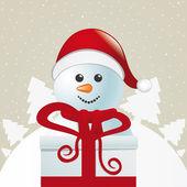サンタ贈り物の白い冬の風景の背後にあります。 — ストックベクタ