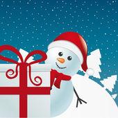 Sneeuwpop achter geschenk witte winterlandschap — Stockvector