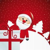 Santa achter geschenk witte winterlandschap — Stockvector