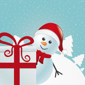 Snowman behind gift white winter landscape — Stock Vector