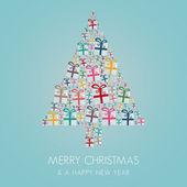 Many gift box colorful christmas tree stack — ストックベクタ