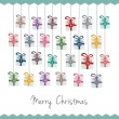 Cтоковый вектор: Gift boxes hang on twine advent calendar