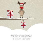 Reindeer figure on branch snowy winter landscape — Stock Vector