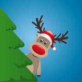 Reindeer with santa hat behind christmas tree — Stock Vector