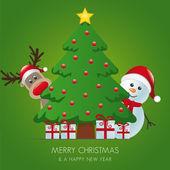 Renar och snögubbe bakom julgran presenter — Stockvektor
