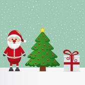Santa claus gift and christmas tree snowy — Stock Vector