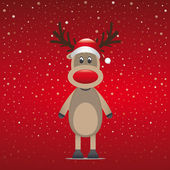 Reindeer with red hat blue snow background — Vector de stock