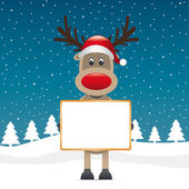 Rudolph reindeer red nose hold signboard — Stock Vector