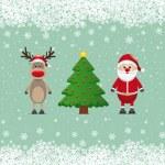 Santa claus reindeer and christmas tree snowy — Stock Vector
