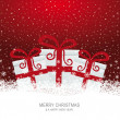 Christmas gift boxes on snowy red background — Stock Vector #14758539