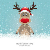 Reindeer with red hat brown snow background — Stock Vector