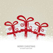 Christmas gift boxes on snowy brown background — Stock Vector