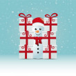 Snowman behind gift stack snowy winter background — Stock Vector