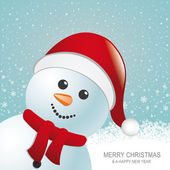 Snowman red hat snow snowflake blue background — Stock Vector