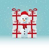 Kardan adam arkasında hediye yığınına karlı kış arka plan — Stok Vektör