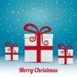Gift box snowy winter background merry christmas — Imagens vectoriais em stock