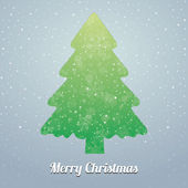 Christmas tree snowflake snow stars green blue — Stock Vector