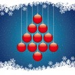 Stock Vector: Christmas balls tree winter snowflake blue background