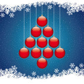 Christmas balls tree winter snowflake blue background — Stock Vector