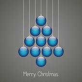 Christmas balls tree hang twine brown background — Stock Vector