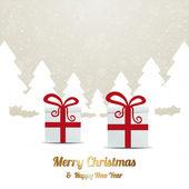 Geschenk rode witte winter sneeuw boom landschap — Stockvector