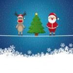 Santa reindeer tree on twine snowy background — Stock Vector #16194623
