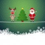 Santa reindeer tree on twine snowy background — Stock Vector #16197777