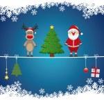 Santa reindeer tree on twine snow background — Stock Vector #16199101