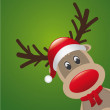 Rudolph reindeer red nose and hat scarf — Stock Vector