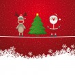 Santa reindeer tree on twine snowy background — Stock Vector