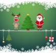 Santa reindeer tree on twine snow background — Stock vektor