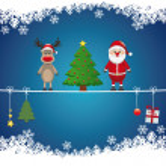 Santa reindeer tree on twine snow background — Stock Vector