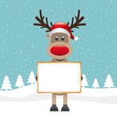 Rudolf rendier rode neus kerstman hoed — Stockvector