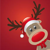 Rudolph reindeer red nose and hat scarf — Stockvektor