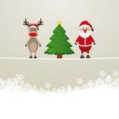圣诞老人驯鹿树上的缠绕雪背景 — 图库矢量图片