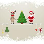 Santa reindeer tree on twine snow background — Cтоковый вектор