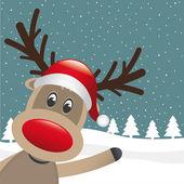 Vague de nez et chapeau de renne rouge — Vecteur