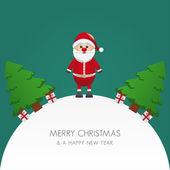 Санта-Клаус Рождественская елка и дар миру — Cтоковый вектор