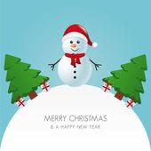 Снеговик шляпу Рождественская елка и дар миру — Cтоковый вектор