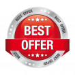 Best offer red silver button isolated background — Image vectorielle