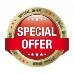 offerta speciale sfondo rosso oro pulsante isolato — Vettoriale Stock