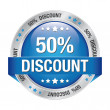 50 discount blue silver button isolated background — Stock Vector