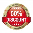 50 discount red gold button isolated background — Imagen vectorial