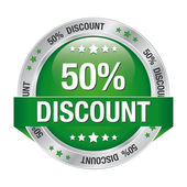 50 discount green silver button isolated background — Stock Vector