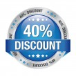 40 discount blue silver button isolated background — Stock Vector