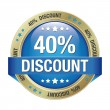 40 discount blue gold button isolated background — Image vectorielle