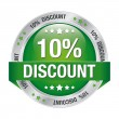 10 percent green silver button isolated background - Stock Vector